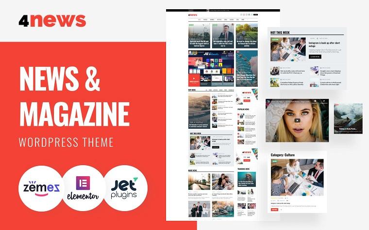 4News - News & Magazine Elementor WordPress Theme.