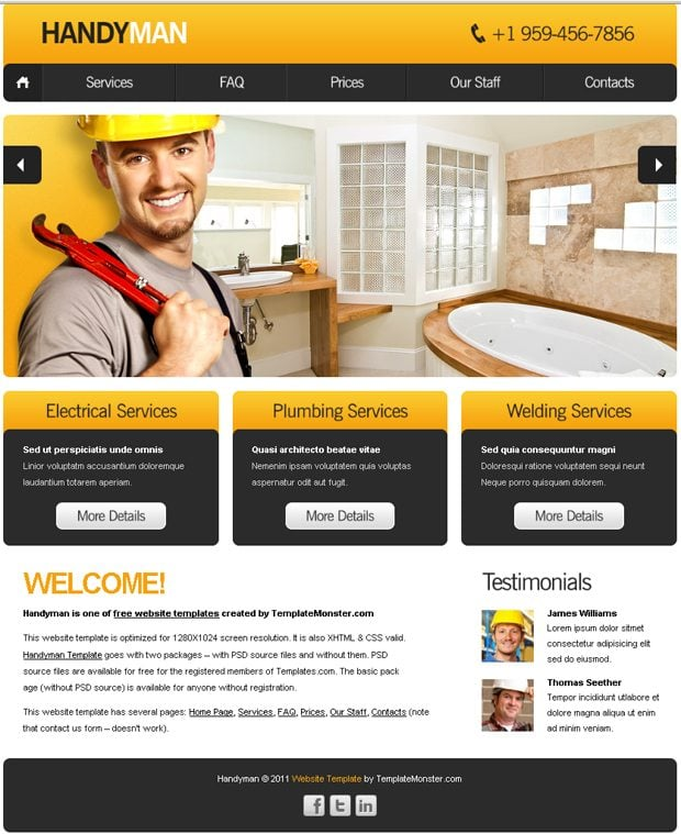 Free Website Template with Slideshow for Maintenance Business LJVTunry