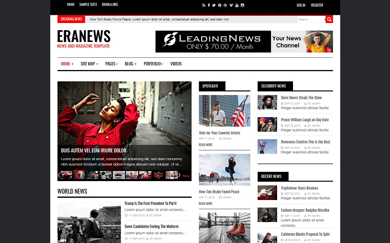 Eranews News and Magazine Joomla Template.