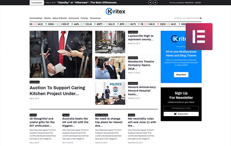 Kritex - Corporate News Blog Modern Elementor WordPress Theme.