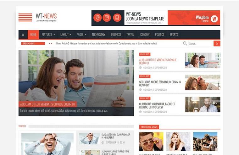 WT-News News And Magazine Joomla Template.