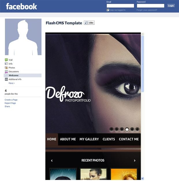 facebook flash cms template