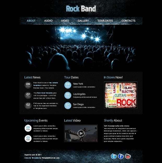 Free website template with jquery gallery for music site monsterpost download with psd download without psd pronofoot35fo Images