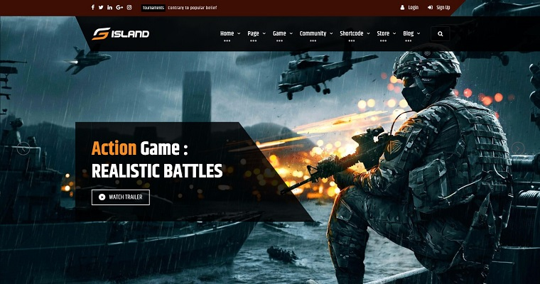 Game Island - Community Portal Gaming Multi Purposes Bootstrap Website Template.