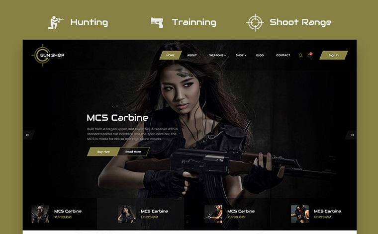 Gun Shop HTML Template Website Template.