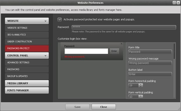 Protect Flash pages and popups with a password