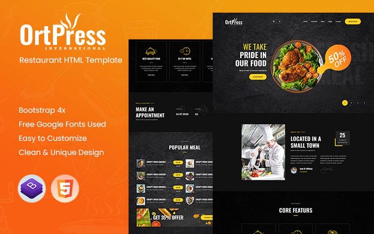 Ortpress - Restaurant Website Template.