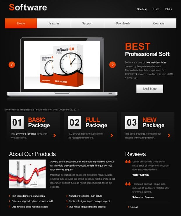 Free Website Template with jQuery Slider for Software Project 6KiTalW6