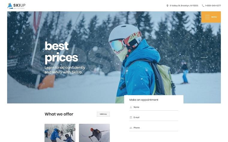 SkiUp - Responsive Ski School Website Template.