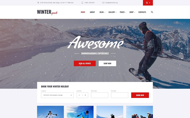 Winter Sports - Multipage Winter Sports Equipment Store HTML Website Template.