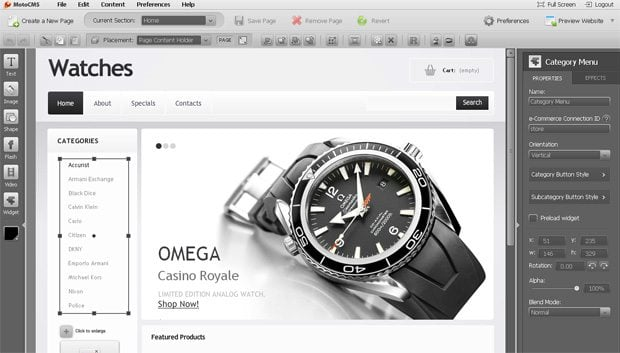Category Menu module of the e-Commerce widget of MotoCMS