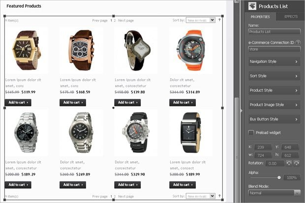 Products List module of the e-Commerce widget of MotoCMS