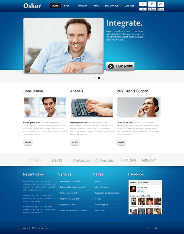 Stretched Flash CMS Template