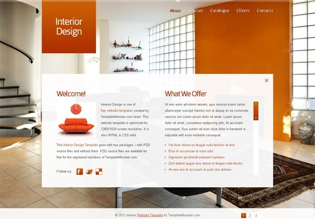 Free full javascript animated template for interior design for Interieur websites