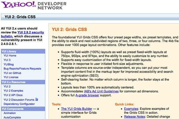 YUI2 grid systen
