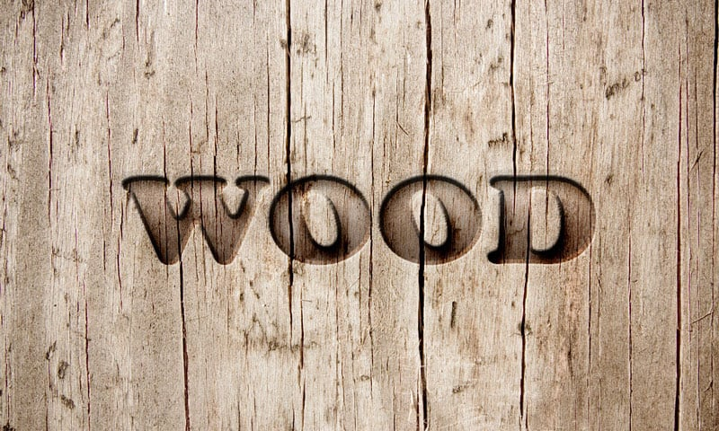 carved wood photoshop text effect