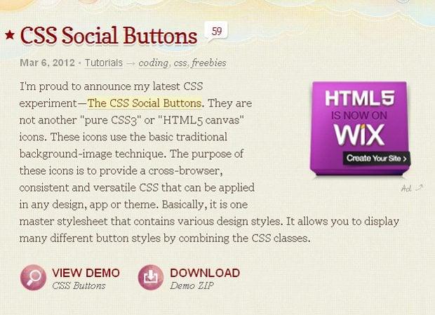 CSS Social Buttons