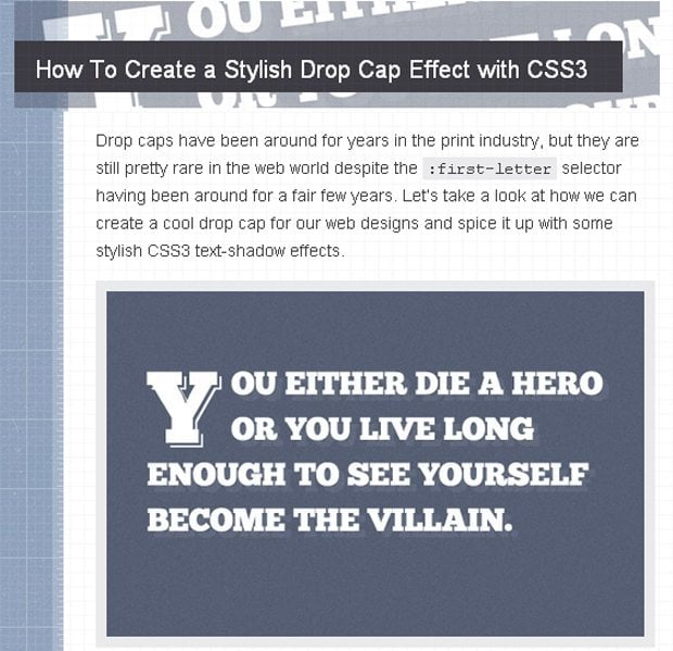 Drop Cap Effect with CSS3