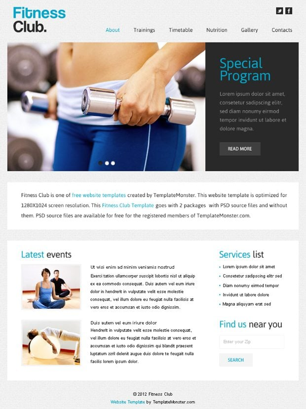 Free Website Template with jQuery Slider for Fitness Club VWawGH8V