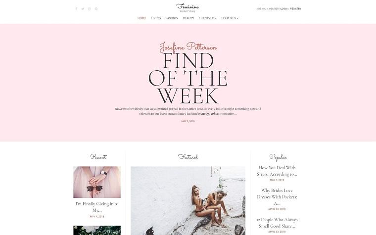 Feminine - Woman Blog Elementor WordPress Theme