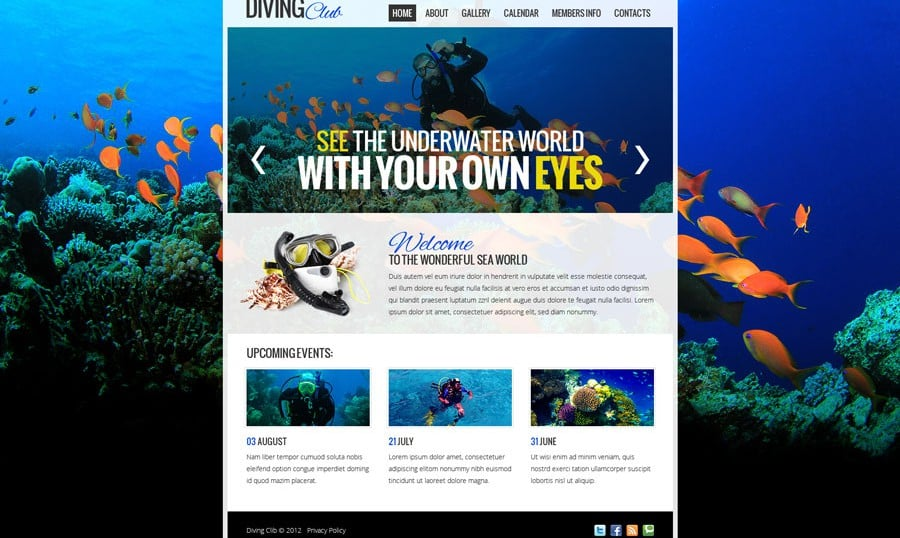 Free Website Template with jQuery Slider for Diving Club
