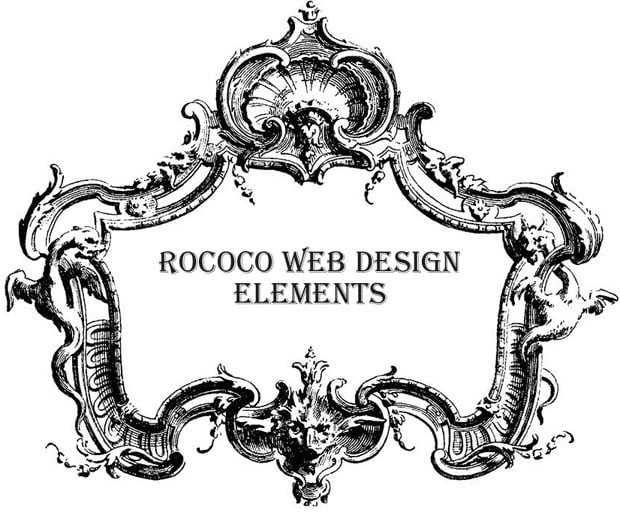 Rococo style in modern web design for Baroque architecture elements