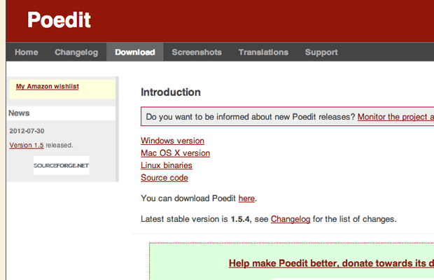 Poedit website download source code software page