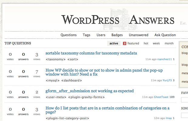 stack exchange WordPress questions answer forums bulletin boards