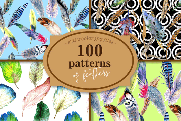 100 Patterns of Feather JPG Watercolor Set Illustration