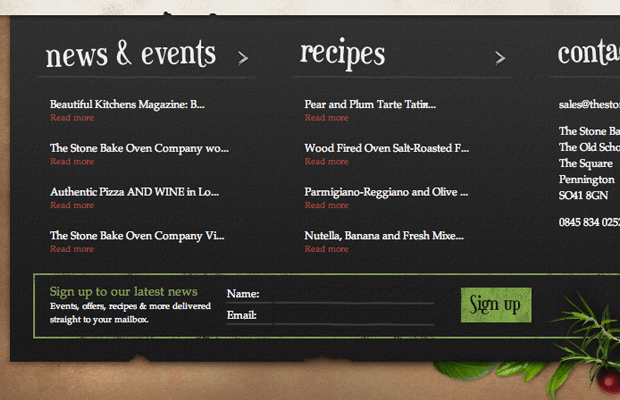 stone bake oven company 2013 website footer ui