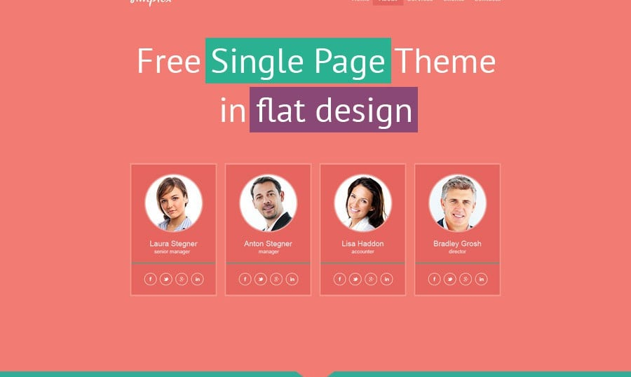 Flat Monday! Free Single Page Website Template for Business Site