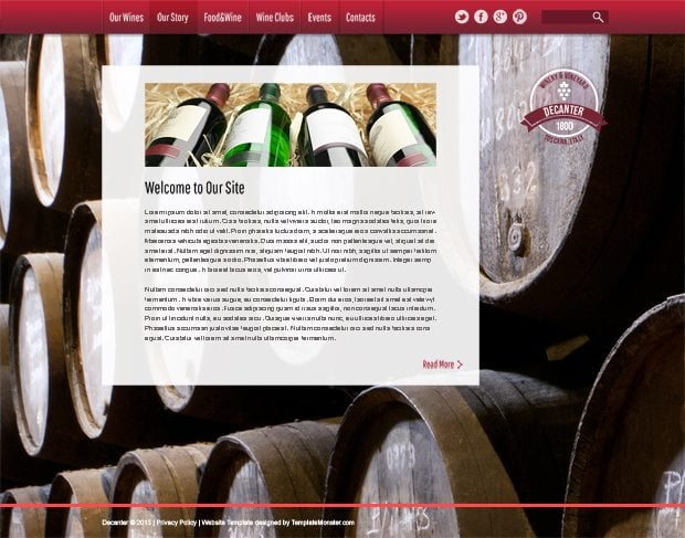 Wine & Winery Free HTML5 Theme