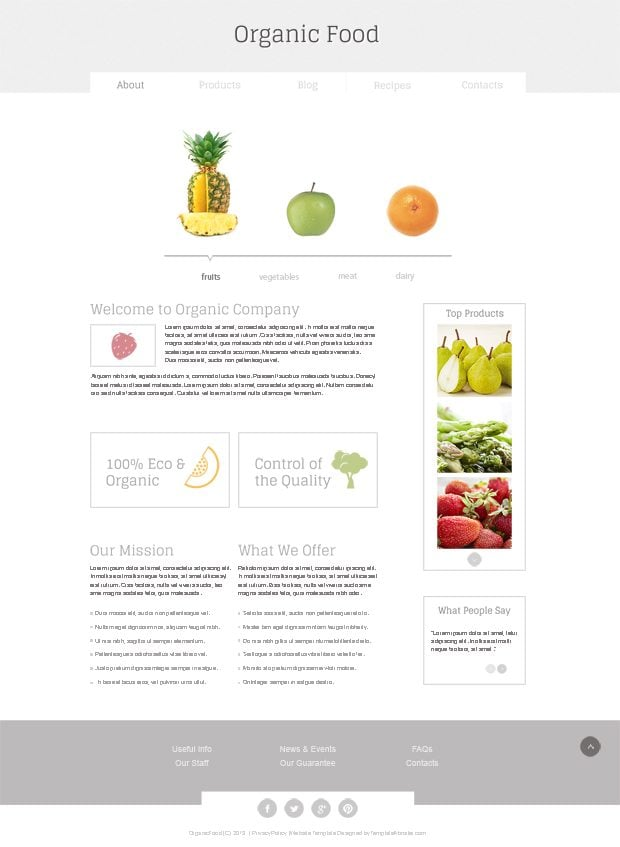 New in freebies collection minimal html5 template for organic gallery with zoom effect on the products page will show all the items the viewers have read about on the site organic food free html5 template pronofoot35fo Choice Image
