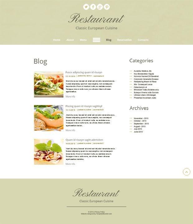 Free HTML5 Theme for Restaurant Site