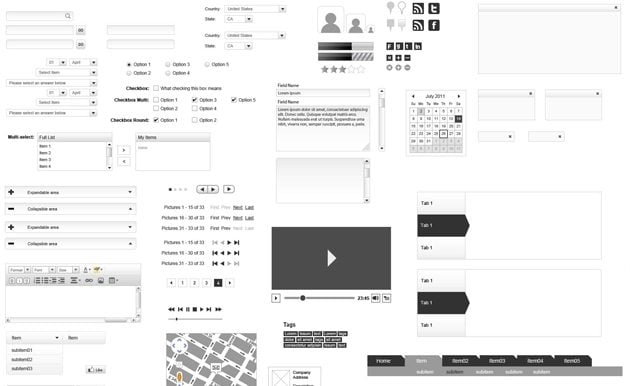 Mocking Up Interfaces  Free Wireframing Kits for Photoshop