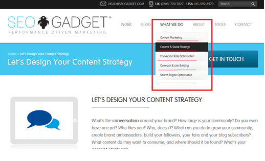 SEOGAdget Homepage Screen SHot