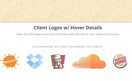 Featured Clients List with Hover Descriptions