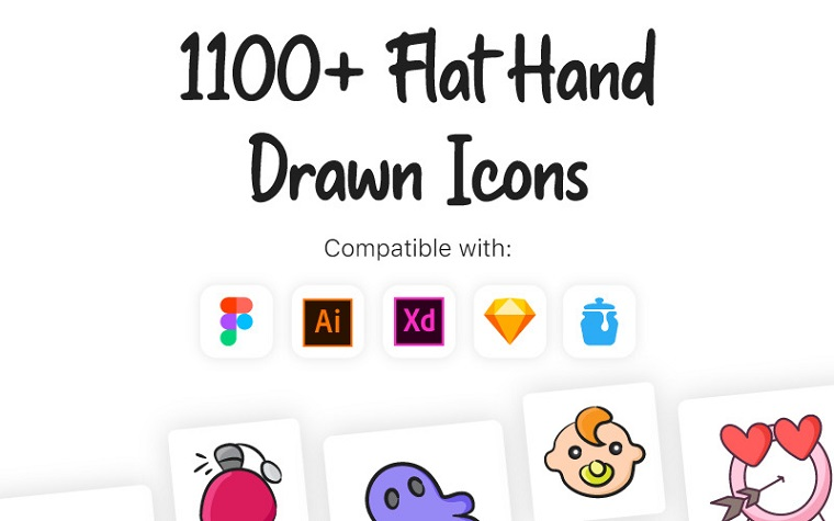 Flat Hand Drawn Iconset Template