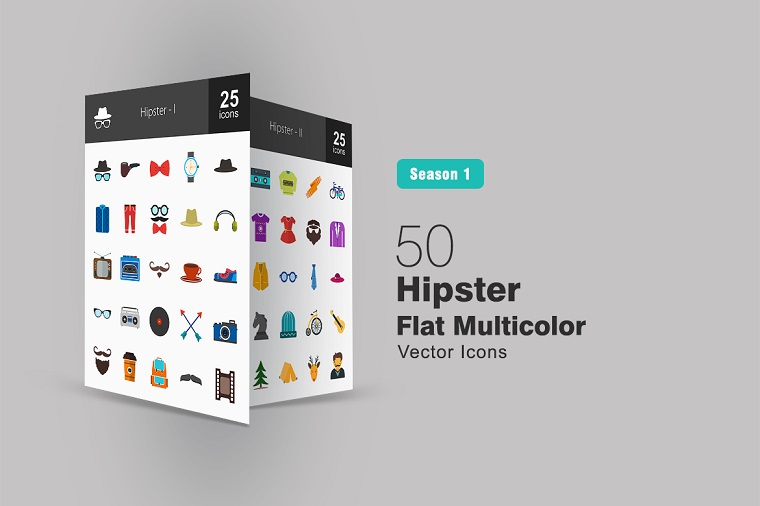 50 Hipster Flat Multicolor Iconset Template