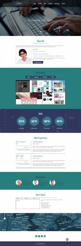 lay out your cv effectively with free html5 one page template. Black Bedroom Furniture Sets. Home Design Ideas