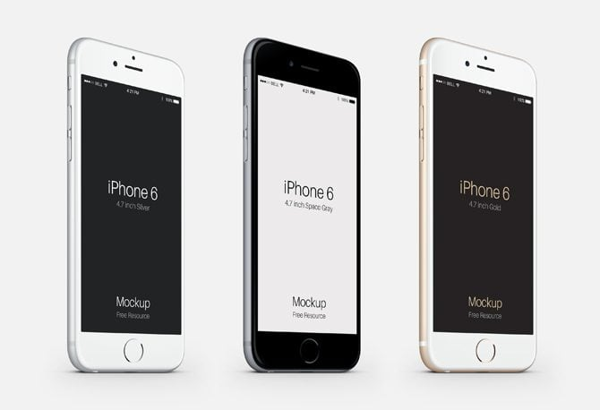 iPhone 6 Three Quarters View Mockup