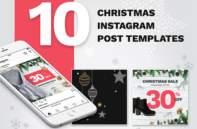 10 Christmas Instagram Post Templates Social Media
