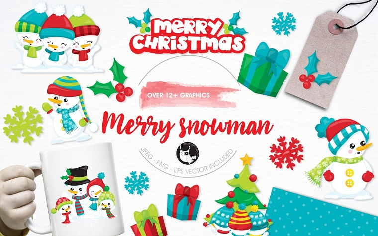Merry Snowman Illustration Pack Vector