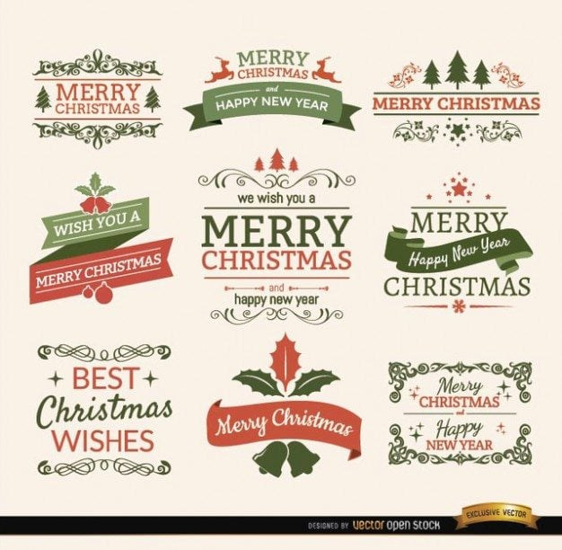 christmas-typographic-elements--vintage-labels-and-ribbons