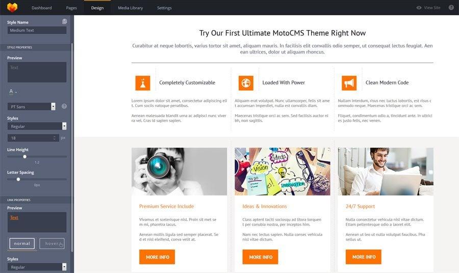 moto cms version 3.0 website templates