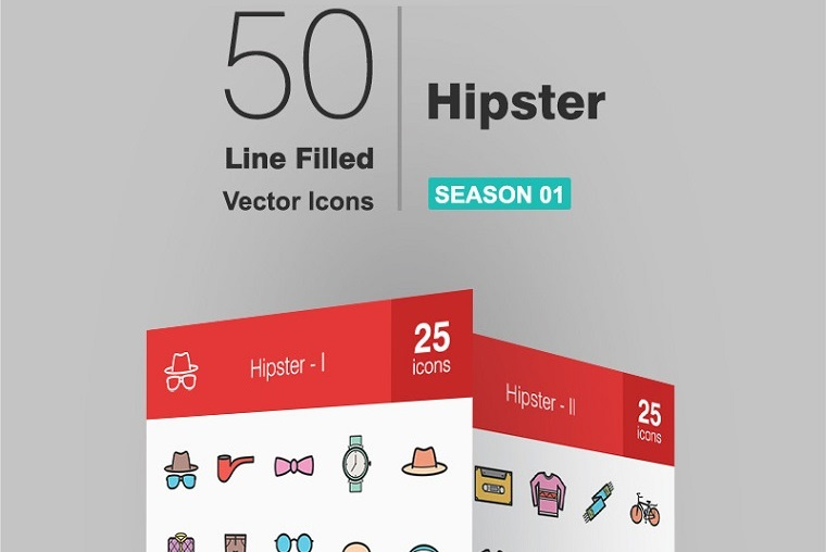 50 Hipster Filled Line Iconset Template