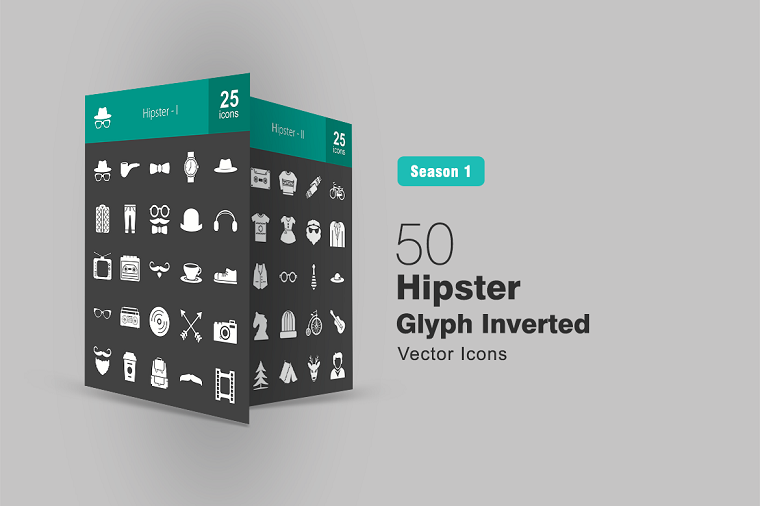 50 Hipster Glyph Inverted Iconset Template
