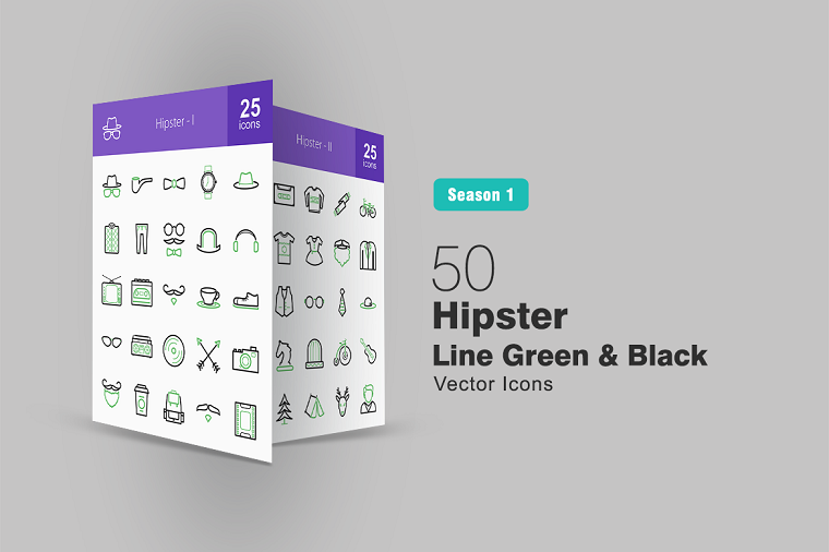 50 Hipster Line Green & Black Iconset Template