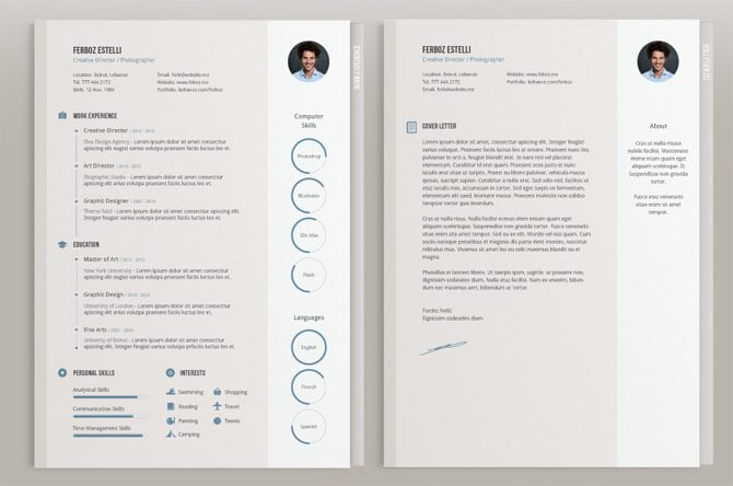 creative resume template with infographic elements vector free