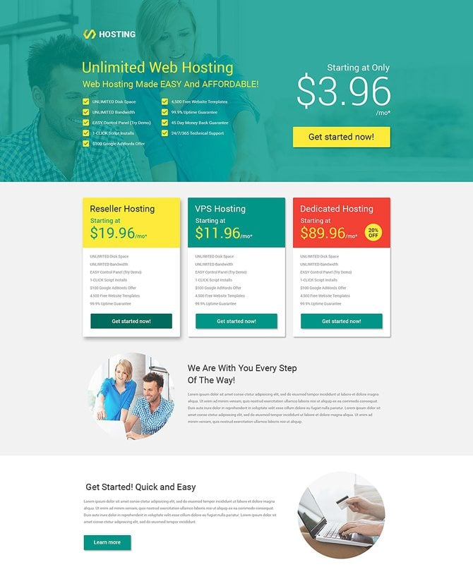 Hosting best landing page that converts
